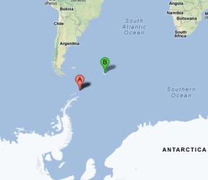 A : l'île de l'EléphantB : Georgie du Sud