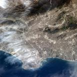 """""""Los Angeles, CA. The grey of pavement and dense population is visible from Earth orbit. """""""