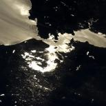 """""""San Francisco Bay Area. The sun glint really shows the water and cloud flow patterns."""""""