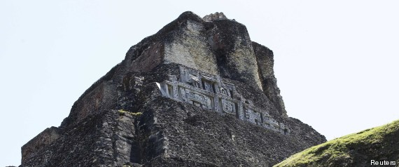 Britain's Prince Harry visits the Xunantunich Mayan temple near Benque Viejo