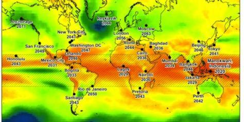 Pour chaque ville est indiquée l'année à partir de laquelle les températures moyennes seront supérieures à celles des années les plus chaudes enregistrées au même endroit.