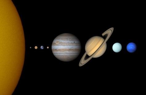 La taille des planètes du système solaire
