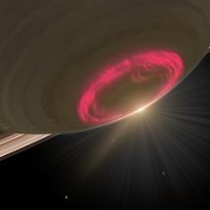 Aurore boréale sur Saturne