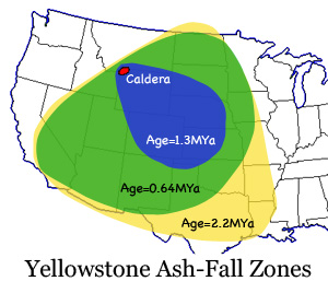 zone de dispersion des centres de Yellowstone en cas d'éruption